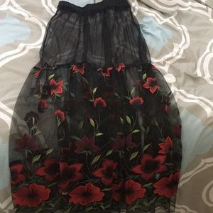 Black maxi skirt with red roses